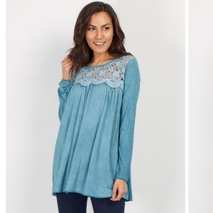Pinkblush Tops - Pinkblush Teal Floral Crochet Neck Top
